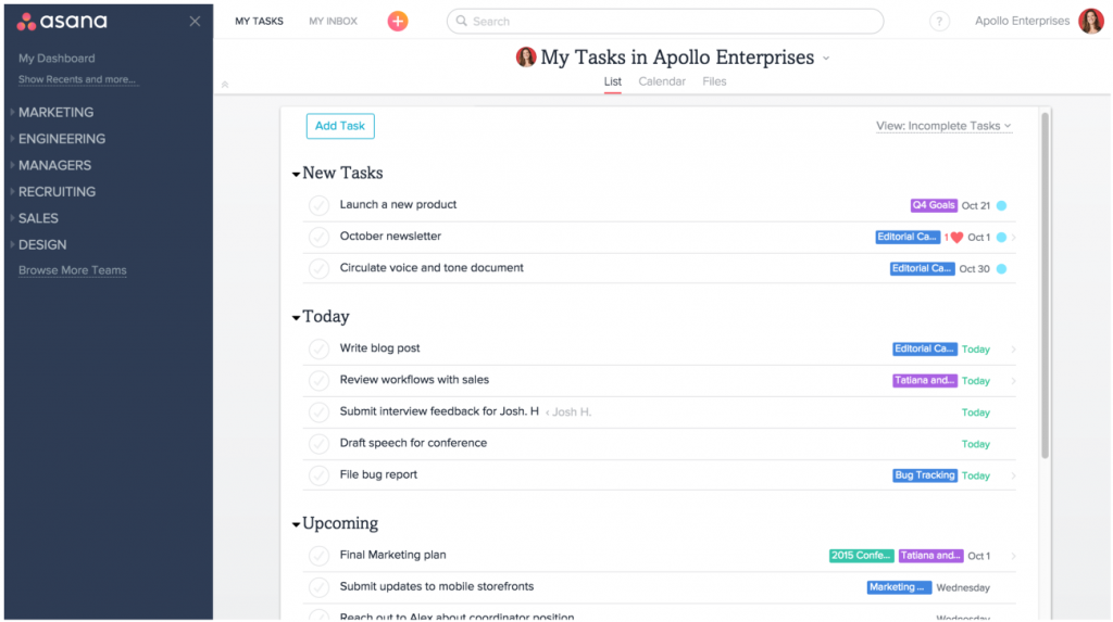 asana interface